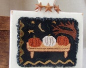 Primitive Needle Punch Fall Pumpkins on Hornbook ~ Finished Primitive Decor - Punch Needle - Punchneedle - Halloween - Prim Handmade