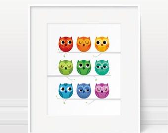 Rainbow owl print, nursery print, nursery decor, children's art, baby room print, baby gift, owl print, new baby gift, owl art, kids decor