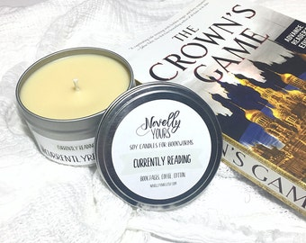 Currently Reading | 8oz tin | Bookstagram soy candle