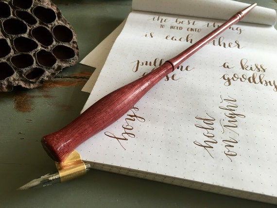 Oblique Calligraphy Pen Purple Heart Dip Pen Nib Holder
