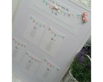 Wedding Seating Plan, shabby chic seating plan, table plan, bunting wedding table plan, bunting seating plan, rustic table plan, unique