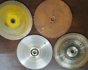 "Lot of 4 Older Used 7 1/4"" Circular Saw Blades for Art work, Metal art, Painting"