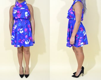 Blue Floral Vintage Collared Dress . Large . 1980s