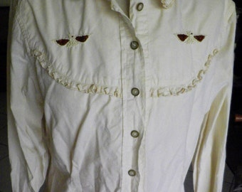 """Shirt vintage 80s, """"OLIVIER shirting"""" size M (40/42), off-white embroidered beaded motifs Eagle"""