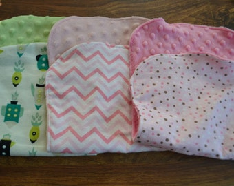Premium Burp Cloths with Flannel and Minky- Set of 4