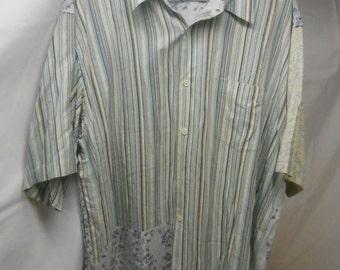 SALE Vintage Silk label and brand men's 100% pure silk shirt- Patchwork design - size XL