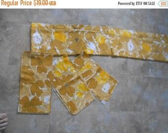 VINTAGE SUMMER SALE Vintage 1970's Gold Floral Tablecloth and set of 7 napkins- 100% cotton