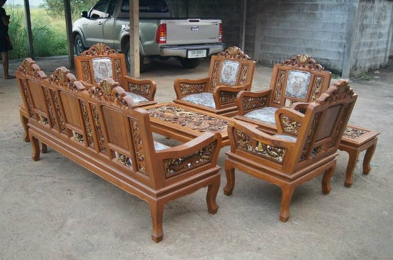 Carved Teak Wood Living Room Furniture Set With Beautiful Dragon Details.  (2 Inches Of Thicknesses) Part 12