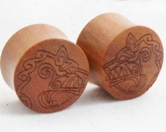 "Sawo Wood Viking Wolf Plugs Light Brown Gauge (Pair) 10mm (0G) 12mm (1/2"") 14mm (9/16"") 16mm (5/8"") 18mm (11/16"") 20mm (13/16"") 25mm (1"")"