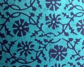 Fabric remnant,  teal, Batik fabric, Indian fabric, wax prints, yardage, khadi, teal batik
