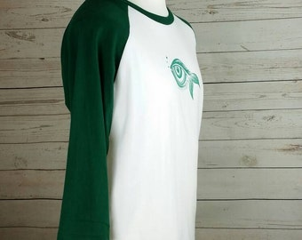 Dark Green and white, Men's Medium 3/4 sleeve T-shirt screen printed eye design, baseball jersey size Large