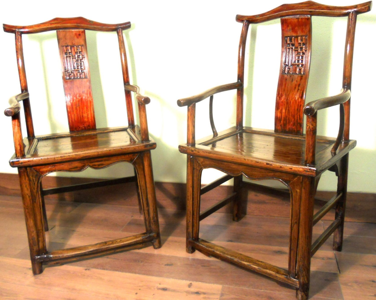 Asian Wood Arm Chairs ~ Antique chinese ming arm chairs pair high back