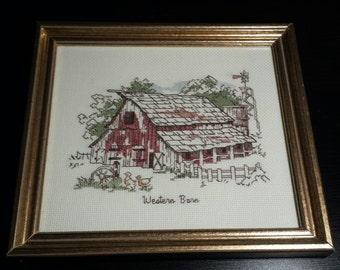 Vintage gold framed, red Western Barn, Cross stitch, handmade, country prim decor
