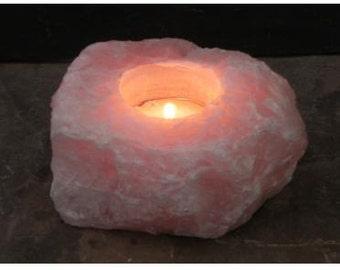 Rose Quartz tealight candle holder