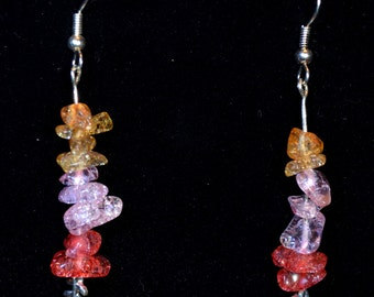 Glass chips in various pinks with a leaf earrings