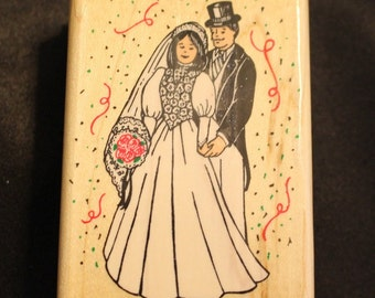Wedding Couple Stamp - Wood Stamp for Scrapbooking or Card Making Wedding Couple By Inkadinkadoo
