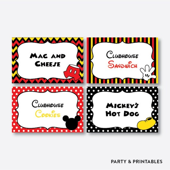 ... Food Tents, Mouse Buffet Cards, Table Tent, Mouse Printable (PKB.19