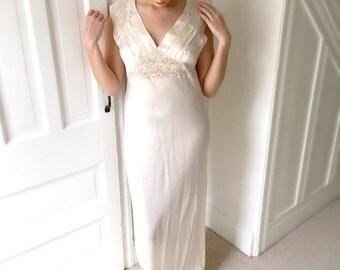 Vintage 1930s Wedding Dress Bridal Gown Gatsby Wedding Slip Dress Lingerie Slip Ivory Satin Lace