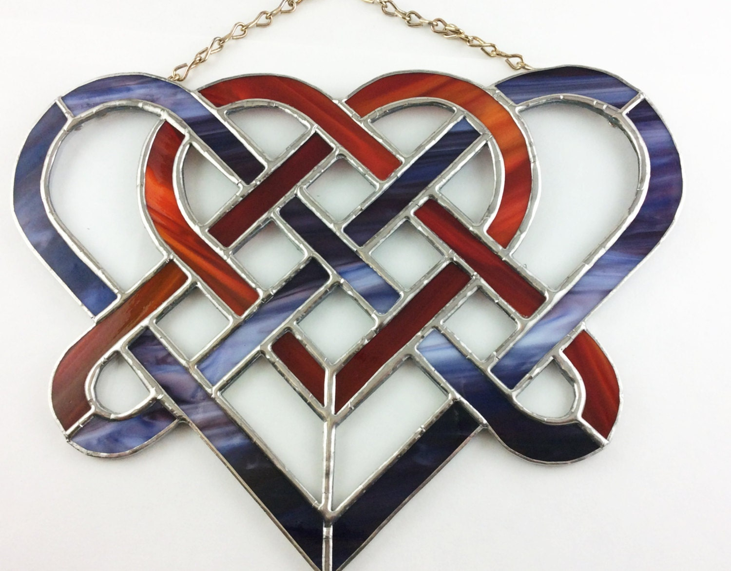 Metal heart ornaments - Celtic Heart Celtic Design Tiffany Style Stained Glass Heart