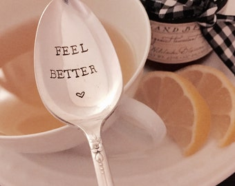 Feel Better hand stamped vintage spoon created by The Paper Spoon - get well soon, get well gift, under the weather gift, inspirational gift