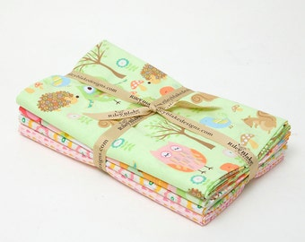 Owl & Co. - 4 Fabric Bundle Lime