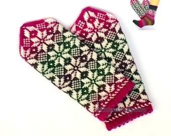 Hand Knitted Pink Green Purple White Mittens Hand Knit Pink Green Purple White Gloves Pink Green Women's Mittens Pink Green Girl's Mittens
