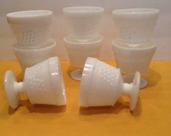 Indiana Milk Glass Footed Pedestal Dessert Cups, Footed, Harvest Grape Design, Fruit Cups - Sorbet,  Vintage, Collectible, Antique Stemware