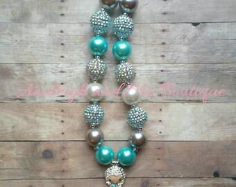 Elsa Chunky Necklace, Elsa Toddler Necklace, Elsa Baby Necklace, Infant Necklace, Newborn Necklace, Disneyland Necklace