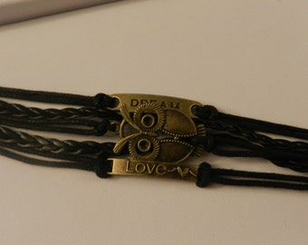 Multi Strand Infinity Black Brass Owl Dream Love  Bracelet