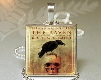 Valentine Sale Edgar Allen Poe Raven Evermore Square Necklace Keyring V4