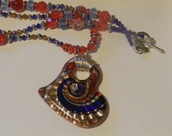 Murano Style Heart Shaped Glass Pendant V4576