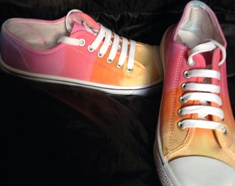 s tie dye canvas shoes in rainbow colours by theredowlco
