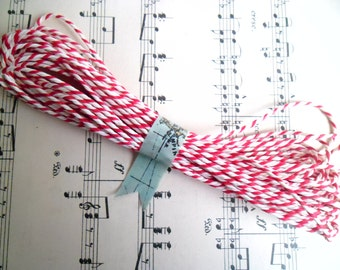 10 Metres of British Butchers Twine in Red and White 10m British Bakers Twine Bundle