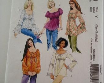 Gypsy blouse/boho/ruffle/peasant blouse 2006 sewing pattern, Bust 29 30 31 32 34 36, Size X-Small Small Medium 4 6 8 10 12 14, McCalls MP390