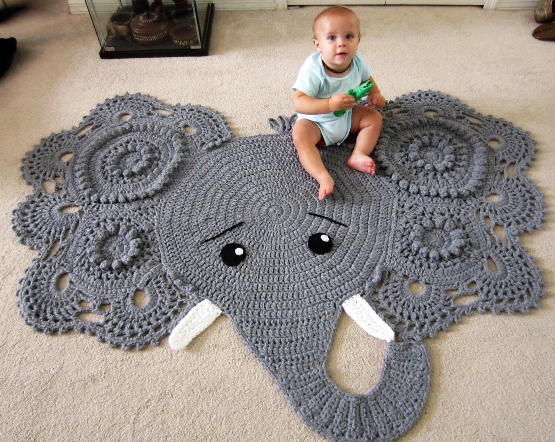 Elephant rug crochet elephant crochet elephant rug