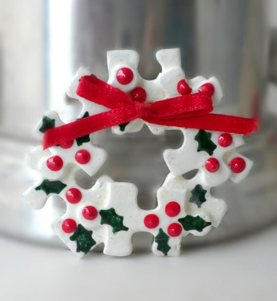 Christmas Wreath Brooch Puzzle Piece Jewelry By