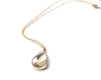 Quartz Pendant Necklace, Lemon Quartz Gold Necklace
