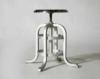 Vintage Industrial Machine Age Aluminum Chrome Goodform Stool (Short #1)