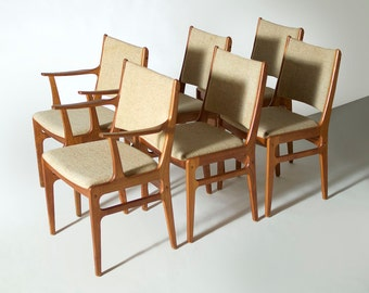 Set of 6 Mid Century Danish Modern Teak Dining Chairs by D-Scan
