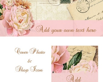 Post Card Peony large Cover Photo and shop icon, instant download, blank, floral pink, banner, etsy, vintage letters, Paris, old letters
