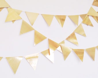 Gold Pennant Banner - Paper Pennant Banner - Gold Bunting - Pennant Banner - Gold Party Garland - Bunting - Gold Flag Bunting - Gold Foil
