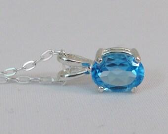 Swiss Blue Topaz Necklace in Sterling Silver, 8x6mm Blue Topaz Pendant, Topaz Gemstone, December Birthstone, Wedding Jewelry, Bride Necklace
