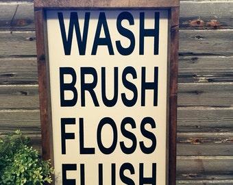 Wash Brush Flush Floss Sign | Wood Sign |Framed Sign | Bathroom Sign | Family Sign