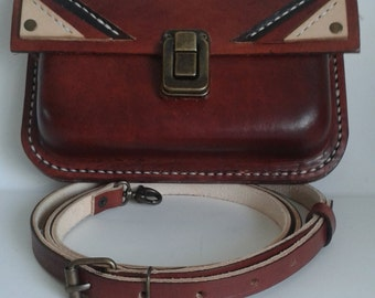 Hand stitched Leather Shoulder Bag in Mahogany with art deco features