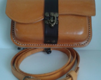 Hand stitched Leather Shoulder bag in Orange and Black with Antique brass Clasp