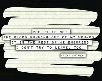 Poetry Print - Nairy Fstukh - Ensuring