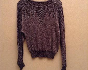 "metallic knit ""pullover"""