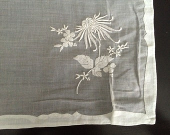 Vintage white voile tablecloth embroidered and appliqued