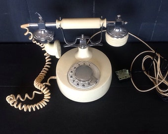 Vintage soft white telephone, USSR - The Cracked Plate