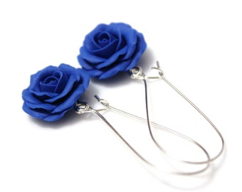 Blue Rose Drop Earrings, Blue Flower Drop Earrings, Blue Rose Jewelry  Blue Wedding Earrings